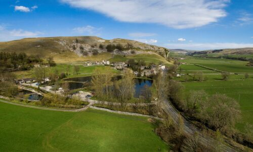 Aerial view of Kilnsey Park Estate in the Yorkshire Dales
