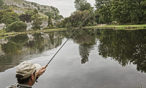 Fly fishing at Kilnsey Park in the Yorkshire Dales