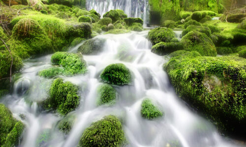 Garnetts Year -  The ghost like waters of Sykes Beck Dam cascade over the moss covered rocks in this scene from Kilnsey , Wharfedale .